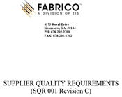 Supplier Quality Requirements SQR 001 (Rev C)