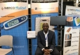 The Fabrico Medical booth, and Fabrico's Christian Yorgure, PhD, at BioMEDevice 2017 in early May.